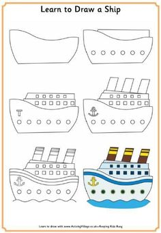 Apprendre à dessiner un bateau. How to draw a simple, cartoon like, ship, boat… Art Drawings For Kids, Doodle Drawings, Drawing For Kids, Cartoon Drawings, Easy Drawings, Doodle Art, Art For Kids, Boat Drawing Simple, Drawing Lessons
