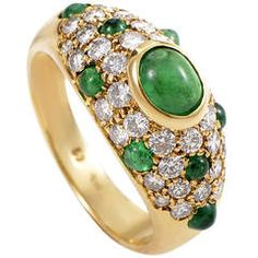 Cartier Colombian Emerald Diamond Gold Band Ring