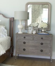 Love the idea of refinishing an old dresser with mirror by taking the mirror off and putting it off center. Awesome!