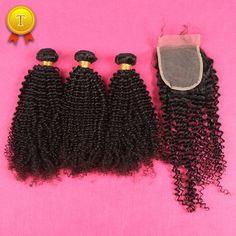 DHL Livraison Gratuite 7A Mongol Crépus Cheveux Bouclés Avec Fermeture de Cheveux Humains Extension Brésilien Crépus Bouclés Vierge de Cheveux Avec Fermeture