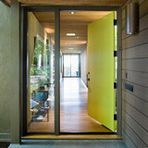 Fresh, fun and a pleasant surprise on a front door, green in subtle to strong shades brings energy to home exteriors