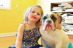 #Bulldog and a little girl. Just a few makeup lessons :)