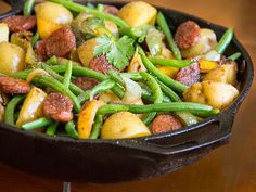What's for dinner? Sausages, onions, Potatoes, Peppers and Green Beans - a big, satisfying, family-friendly meat and potatoes dinner for busy weeknights!