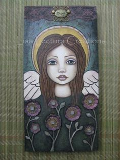 Original Grow Angel Mixed Media 3D Painting by Lisa Lectura