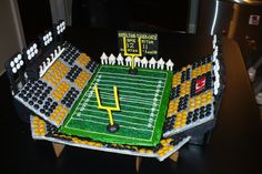 The old Ivor Wynne Stadium in Hamilton, where the Hamilton Tiger Cats used to play. Much like the stadium, these gingerbread version was also demolished :) Again, having someone vacation near an M&Ms store so I could get black M&Ms made all the difference.