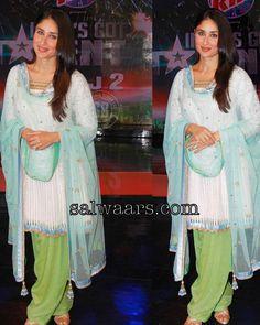 Kareena Kapoor in White Crushed Patiala Salwar kameez - Indian Dresses
