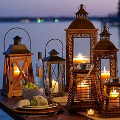 Candle light in ornate lanterns -a great way to dress your evening table Lanterns Decor, Candle Lanterns, Candles, Lamp Light, Light Up, Ramadan Decoration, Deco Luminaire, Candle In The Wind, Lantern Lamp