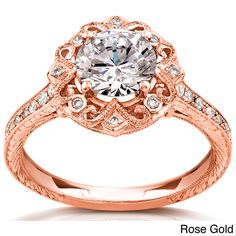 14k Gold Moissanite and 1/5ct TDW Diamond Antique-style Engagement Ring (G-H, I1-I2) | Overstock.com Shopping - The Best Prices on Women's M...