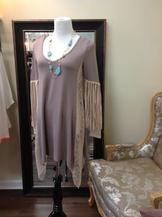 Judith March fringed tunic with lace sides shown with turquoise necklace https://www.facebook.com/pages/Sister-Kates/385504891521272?fref=photo