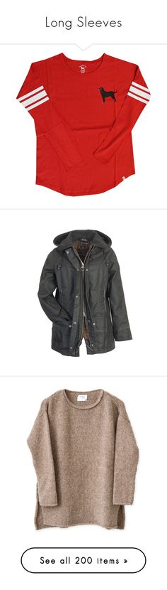 """""""Long Sleeves"""" by mgm26 ❤ liked on Polyvore featuring outerwear, jackets, coats, tops, hooded jacket, hooded wool jacket, wool jacket, barbour, barbour jacket and sweaters"""