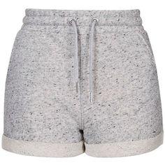 TopShop Sport Runner Shorts (335 MXN) ❤ liked on Polyvore featuring shorts, bottoms, short, pants, grey marl, sports jerseys and sport jerseys
