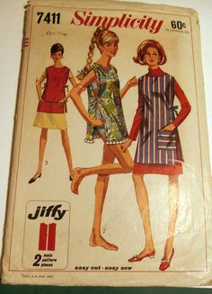 Vintage sixties Simplicity 7411 apron beach cover up All sizes - Used complete