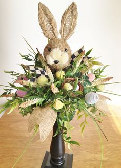 A tall candlestand plus a natural rabbit head and some faux greenery equals a fabulous Easter centerpiece. Easter Crafts, Easter Decor, Easter Table, Easter Party, Easter Ideas, Diy Ostern, Easter Celebration, Easter Holidays, Easter Wreaths