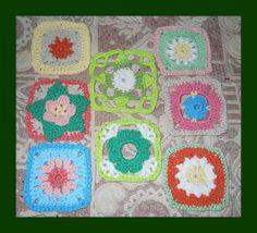 8 cuadrados tejidos el 27 de octubre para la manta hippie colorida
