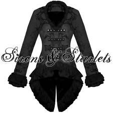 View Item: Ladies New Black Gothic Military Satin Steampunk Floral Brocade Jacket Coat