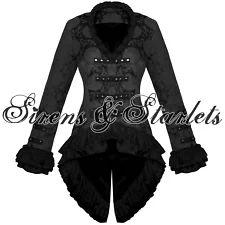 View Item: Ladies New Black Gothic Military Satin Steampunk Floral Brocade Jacket Coat
