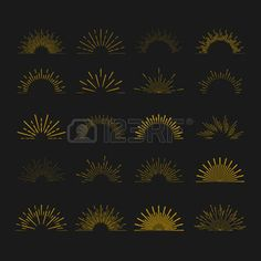 boho: Retro Sun burst shapes. Vintage starburst logo, labels, badges. Sunburst minimal logo frames. Vector firework design elements isolated. Sun burst light logo. Minimal vintage gold firework burst icon