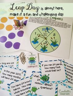 I've been waiting 4 years for this day!  February 29 comes around only once every four years.  Make it a fun and challenging day with these task cards, game board and brag tags.