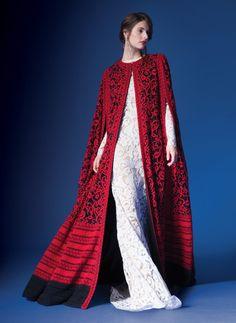 Crewel Embroidery on Tulle Cape in Flame / Black | Tadashi Shoji  Capes! I need a cape. I need to wear a cape everywhere