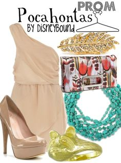 Disney Bound: Pocahontas from Disney's Pocahontas (Prom Outfit) Disney Themed Outfits, Disney Dresses, Disney Clothes, Prom Outfits, Cute Outfits, Movie Outfits, Prom Dresses, School Outfits, Beautiful Outfits