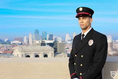Firefighter Class-A Uniform by Marlow White.  Gorgeous view by Kansas City and the Liberty Memorial.