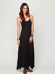 Black slip dress long