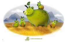 Daily Paint Lolpear Bear by Cryptid-Creations A little throwback to an old painting I did last year, with a new twist Time-lapse, high-res and WIP sketches of my art available on Patreon. Animal Puns, Funny Animals, Cute Animals, Animal Food, Cute Creatures, Mythical Creatures, Cute Animal Drawings, Cute Drawings, Totoro