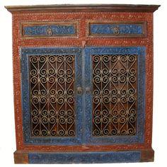 Antik Look Orientalische Massiv Holz Schrank Bücherregal Regal Mit  Schmiedeeisen