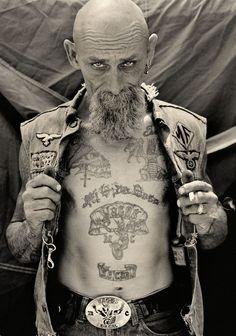 Michael Muller, biker, beard, black and white,