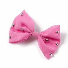 Silver Studded Pink Bow Hair Clip – Claires