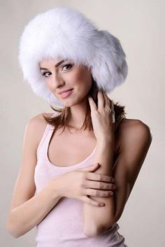 Fur hat for women, manufactured from nappa lamb leather and natural polar fox fur Russian Hat, Gardening Gloves, Hat Pins, Hat Making, Fox Fur, New Trends, Hats For Women, Fur Hats, Bug Control