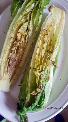 How to grill romaine lettuce hearts the easy way! A cheap and easy way to make your BBQ or party food look fancy for cheap! #recipes #grilling #ideas #lettuce #BBQ #party #food #summer #salad
