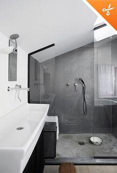 Concrete shower - no mould between tiles, super idea..