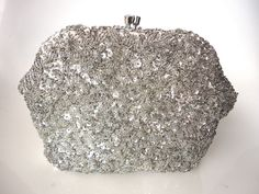Vintage 1960s Silver Beaded Evening Bag Sequin Purse Hand Made #Unbranded #Clutch