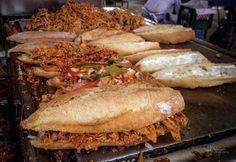 Torta de Pierna, Guadalajara Mexico Torta Sandwich Recipe, Tortas Sandwich, Torta Recipe, Sandwich Recipes, Mexican Cooking, Mexican Food Recipes, Dessert Recipes, Ethnic Recipes, Lucky Food