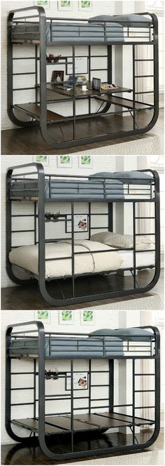 metal furniture Ten great bunk and loft beds for kids - Convertible Metal Twin over Twin Loft Bed with desk Safe Bunk Beds, Cool Bunk Beds, Twin Bunk Beds, Kids Bunk Beds, Loft Beds, Bunk Bed With Desk, Bunk Beds With Stairs, Loft Spaces, Small Spaces