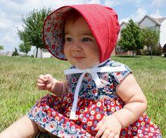 Geranium dress with matching Peekaboo bonnet. Miriam and Sophia must have matching ensembles next summer.