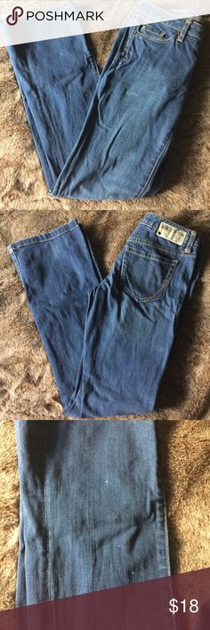 """Converse one star blue jeans 2 x 32 Converse one star blue jeans. Gently used with small spots inside left leg as shown in photos. Size 2 with a 32"""" inseam. Converse Jeans"""