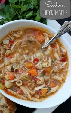 It's that time of year to start cooking soups! Sicilian Chicken Soup - Authentic Sicilian Chicken Soup with a peppery broth, fresh vegetables and tender moist chicken. Healthy Recipes, Crockpot Recipes, Chicken Recipes, Cooking Recipes, Chicken Soups, Rotisserie Chicken, Italian Chicken Soup, Cooking Game, Yummy Recipes