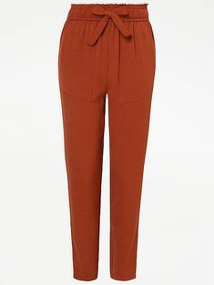 Burnt Orange Paper Bag Waist Trousers | Women | George Orange Paper, Trousers Women, Burnt Orange, Sweatpants, Legs, Fabric, Model, Shopping, Clothes