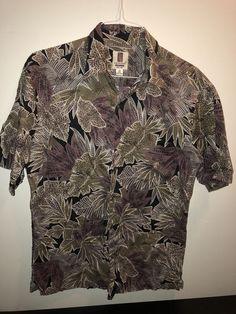 548029c8 Tori Richard M Tan Charcoal Tile Leaf Cotton Lawn Hawaiian Aloha Shirt