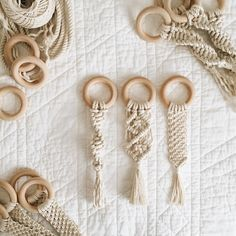 Stocking up on baby teethers for the market! 👶🏻 Our wooden macramé teethers are made of natural wood and cotton, making an organic and nontoxic toy for your sweet babies to chew on! Macrame pacifier soother clip with natural maple wood teether – Macrame Design, Macrame Art, Macrame Projects, Macrame Knots, Cortina Boho, Curtain Rings Crafts, Wooden Baby Toys, Diy Keychain, Keychains