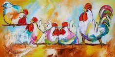 kippen in het hok - Vrolijk Schilderij