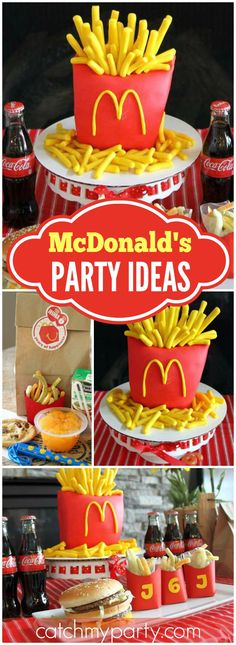 Check out this McDonalds party with hamburgers and fries! See more party ideas… Diy Birthday Man, Guys 21st Birthday, Boy Birthday Parties, Birthday Party Invitations, Birthday Ideas, Birthday Cake, Mc Donald Birthday, Mc Donald Party, Free Mcdonalds