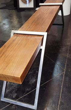 Oak wood plate bench or coffee table with cantilevered .- Eiche Holz Platte Bank oder Couchtisch mit freitragende Stahl Oak wood plate bench or coffee table with cantilevered steel - Welded Furniture, Steel Furniture, Industrial Furniture, Industrial Bathroom, Industrial Table, Industrial Lighting, Furniture Projects, Wood Projects, Diy Furniture