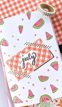 Looking for some July bullet journal inspiration? Here are 20+ stunning July bullet journal cover ideas for you to copy! We have summer, fruit, simple and easy cover ideas you need to see! August Bullet Journal Cover, Bullet Journal Cover Ideas, Bullet Journal Hacks, Bullet Journal Mood, Bullet Journal Aesthetic, Bullet Journal Spread, Journal Covers, Bullet Journal Inspiration, Cover Pages