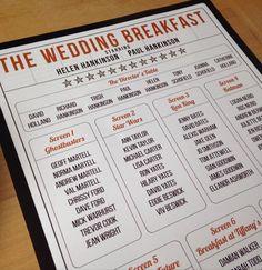 Personalised Movie / Cinema / Film themed Wedding Table Plan! Free P&P by DesignedByJoe on Etsy https://www.etsy.com/uk/listing/263320054/personalised-movie-cinema-film-themed