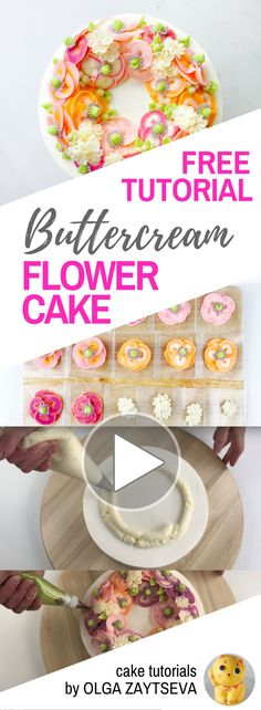 HOT CAKE TRENDS How to make Pink Poppies Buttercream flower cake - Cake decorating tutorial by Olga Zaytseva. Learn how to pipe different kind of poppies and create Spring inspired buttercream flower wreath cake.