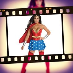 WOW !!! HOT Wonder Woman costume!! It's a boned corset with seperate skirt, belt headband wrist bands cape and boot covers. The whole kit n kaboodle you can hire from us at Costume Bazaar.