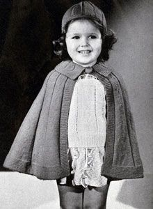 Cape and Hat knit pattern from Yarncraft for Tots and Toddlers, Book No. 17 by Cynthia.